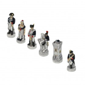Chess Pieces Battle of Waterloo 1815 in hand painted alabaster and resin