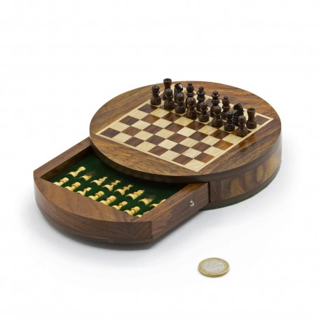 Round magnetic chess set natural wood - with drawer