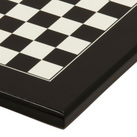 Handmade chess board in black and white lacquered wood