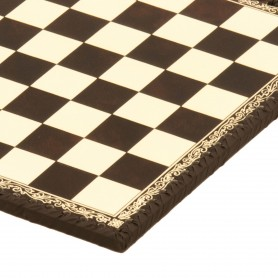 Chessboard leatherette ivory and brown inserted by hand