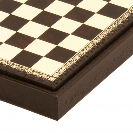 Chess Board Box Leatherette ivory and brown inserted by hand