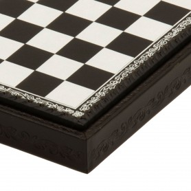 Chess board box container leatherette Black and Ivory inserted by hand