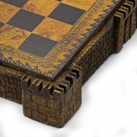 "Chess board ""Castle"" brown with box container in albaster and resin and leatherlike with handpainted details"