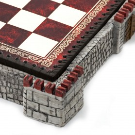 "Chess board ""Castle"" grey with box container in albaster and resin and leatherlike with handpainted details"