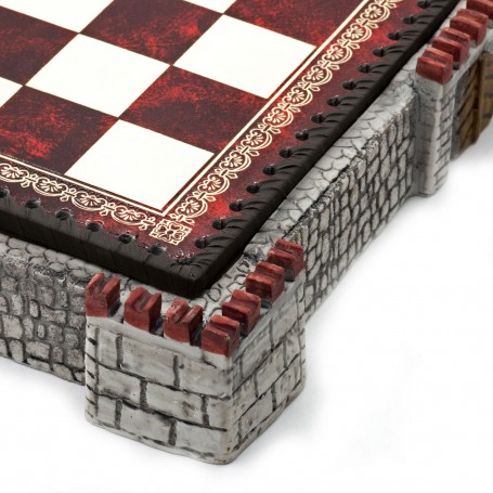 """Chess board """"Castle"""" grey with box container in albaster and resin and leatherlike with handpainted details"""