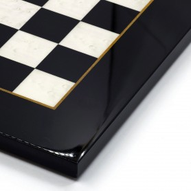 Chessboard in elm root wood ivory/white and black