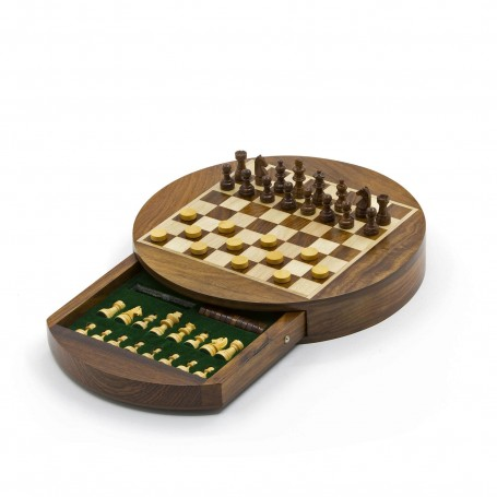 Round magnetic chess set natural wood - with drawer and checkers