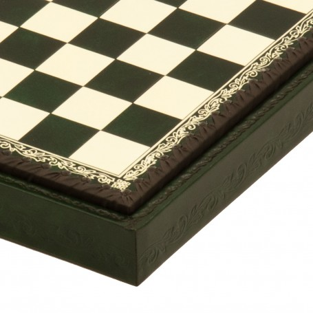Chess board box container leatherette Ivory and Green inserted by hand