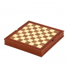 Chess board with container, in walnut wood and maple inlaid by hand