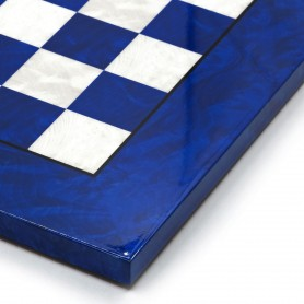 Chessboard in elm root wood white/ivory and blu