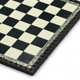 Chess Board Leatherette ivory and green inserted by hand