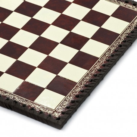 Chessboard leatherette ivory and bordeaux inserted by hand