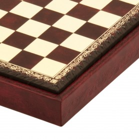 Chess board box container leatherette ivory and bordeaux inserted by hand