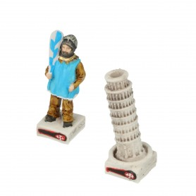 Chess pieces Game of Pisa Bridge Tramontana in alabaster and resin hand painted