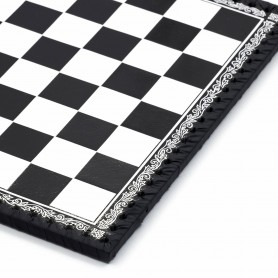 Chessboard leatherette black and white inserted by hand