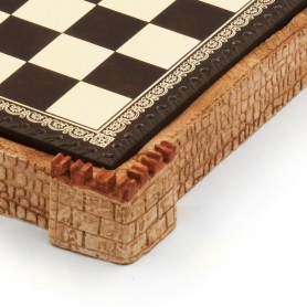 "Chess board ""castle"" sandy colour with box container in albaster and resin and leatherlike with handpainted details"