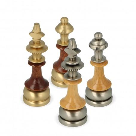 Metal chess pieces brass and wood hornbeam stylized handmade staunton pattern
