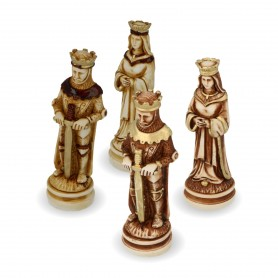 """Medioevo"" chess pieces in alabaster and resin Wood Effect Coating"