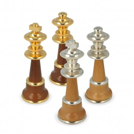 Metal Brass and wood chess pieces made by hand and assembled by hand with gold and silver plated