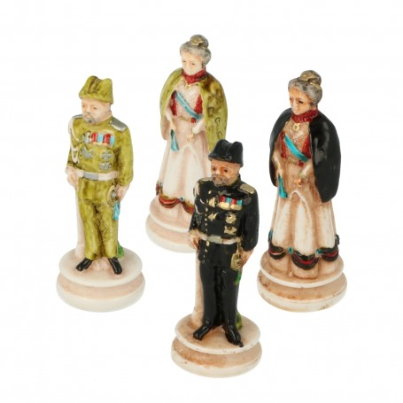 Chess pieces Corps of Carabinieri with high uniform in hand painted alabaster and resin