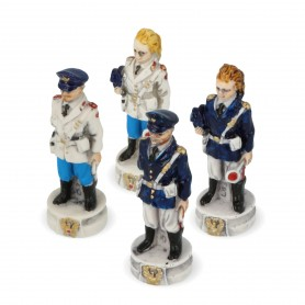 Chess pieces Police State and Municipal Police in alabaster and resin painted by hand