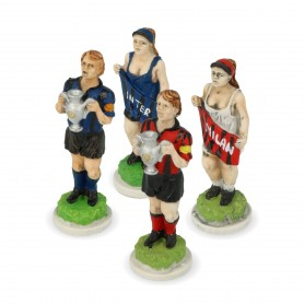 Chess pieces Football (Soccer) Teams in hand-painted  alabaster and resin