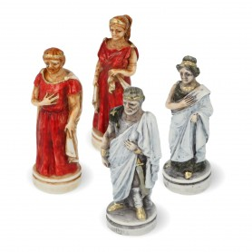 Chess pieces Battle of Troy - Sparta vs Troy in hand painted alabaster and resin