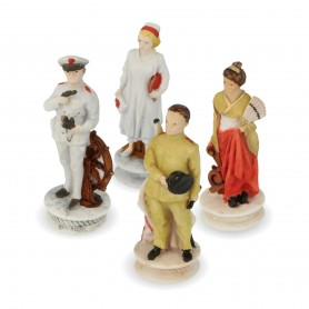 Chess pieces Battle of Midway in alabaster and hand-painted resin