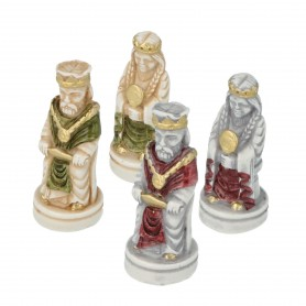 Chess pieces Frederick Barbarossa in hand-painted alabaster and resin