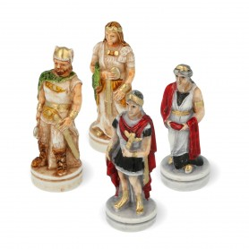Chess pieces battle Romans vs Barbarians in hand painted alabaster and resin