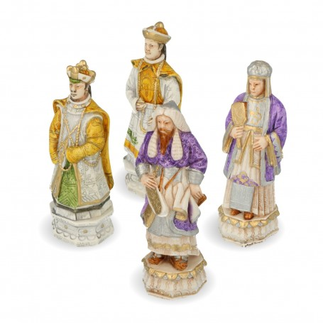 Genghis Khan hand painted alabaster and resin chess pieces and the Mongol battle against the Chinese people