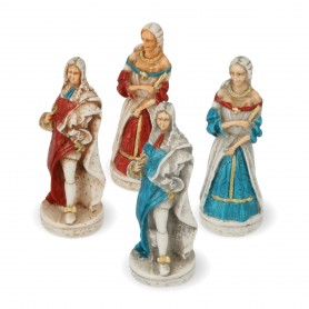 "Chess pieces Louis XIV of France, the ""Sun King"" in hand painted alabaster and resin"