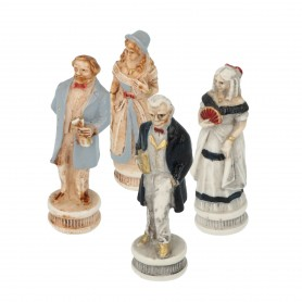 Chess pieces American Civil War in alabaster and resin painted by hand