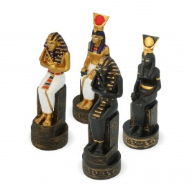 Ancient Egyptian chess pieces in alabaster and hand-painted resin