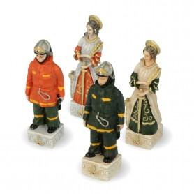 """Chess pieces Italian Fire Department """"yesterday and today"""" in hand painted alabaster and resin"""