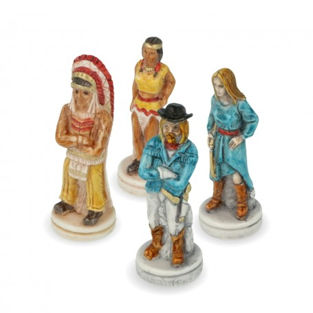 Chess pieces Wild West Cowboy against Indians in alabaster and resin hand painted.