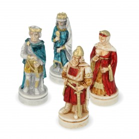 Chess pieces Battle of Cornwall in alabaster and hand-painted resin