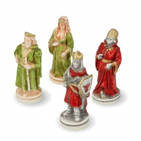 Chess pieces The Battle of Camelot in hand painted alabaster and resin