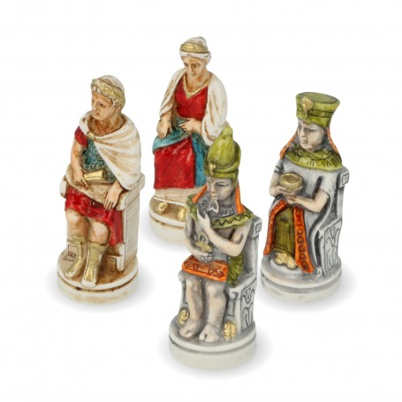 Chess pieces Cleopatra and Caesar in hand painted alabaster and resin
