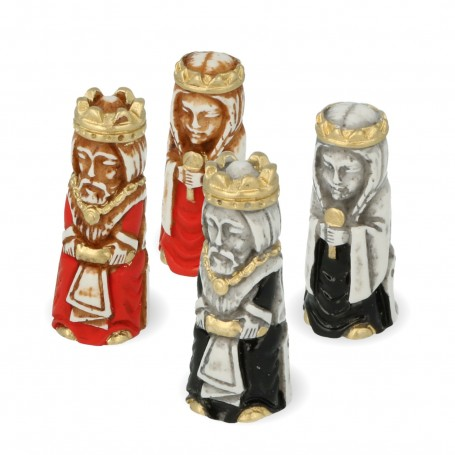 Chess pieces stylized Crusaders in hand painted alabaster and resin