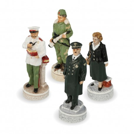 Chesspieces World War - Hitler Vs Stalin in hand painted alabaster and resin