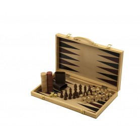 Backgammon and chess - case with backgammon game and chessboard with chess game