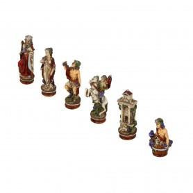 Chess pieces The Grape Harvest in hand painted alabaster and resin